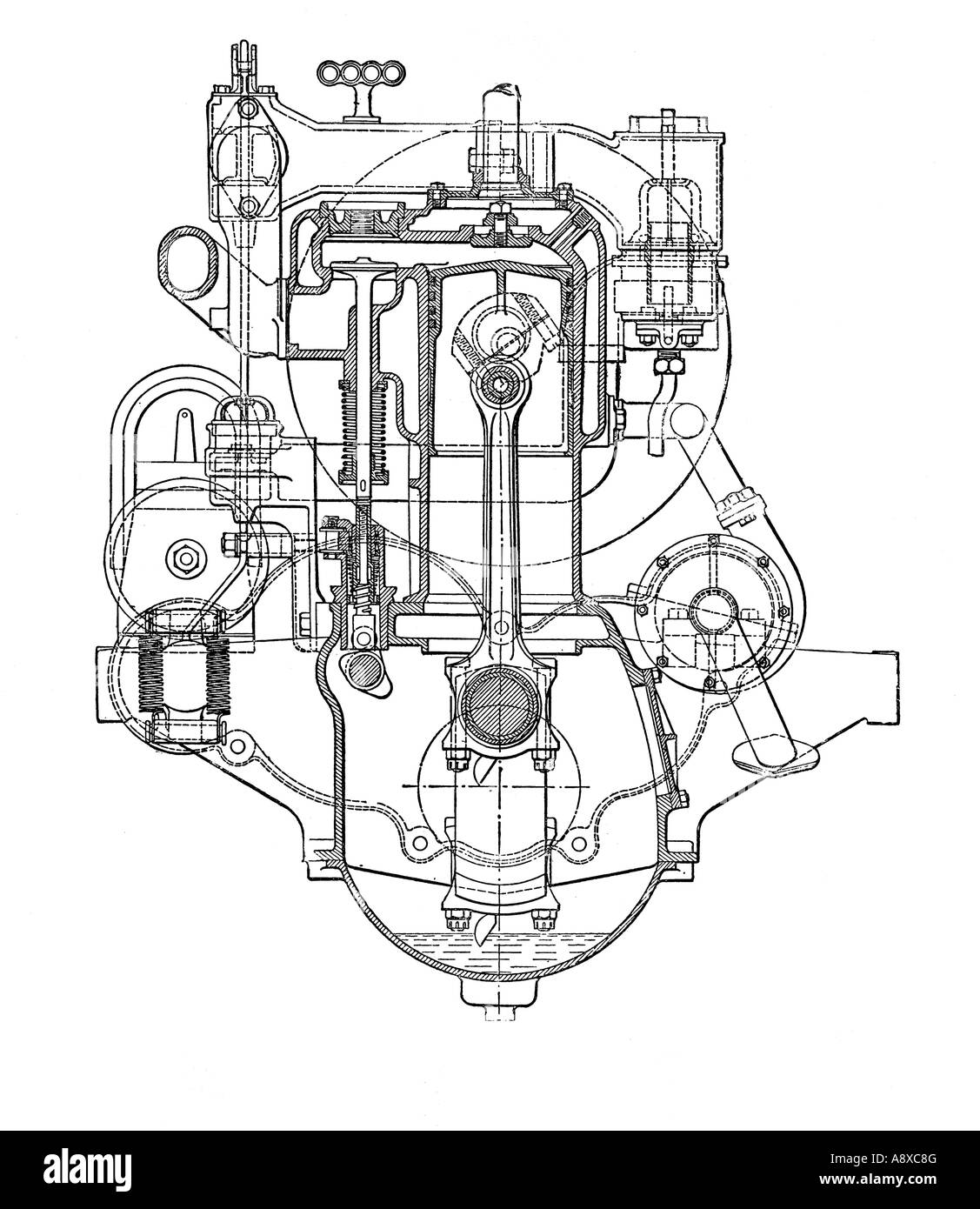 Cross Section Diagram Of Siddeley Four Cylinder Petrol Engine Stock Photo  12190623