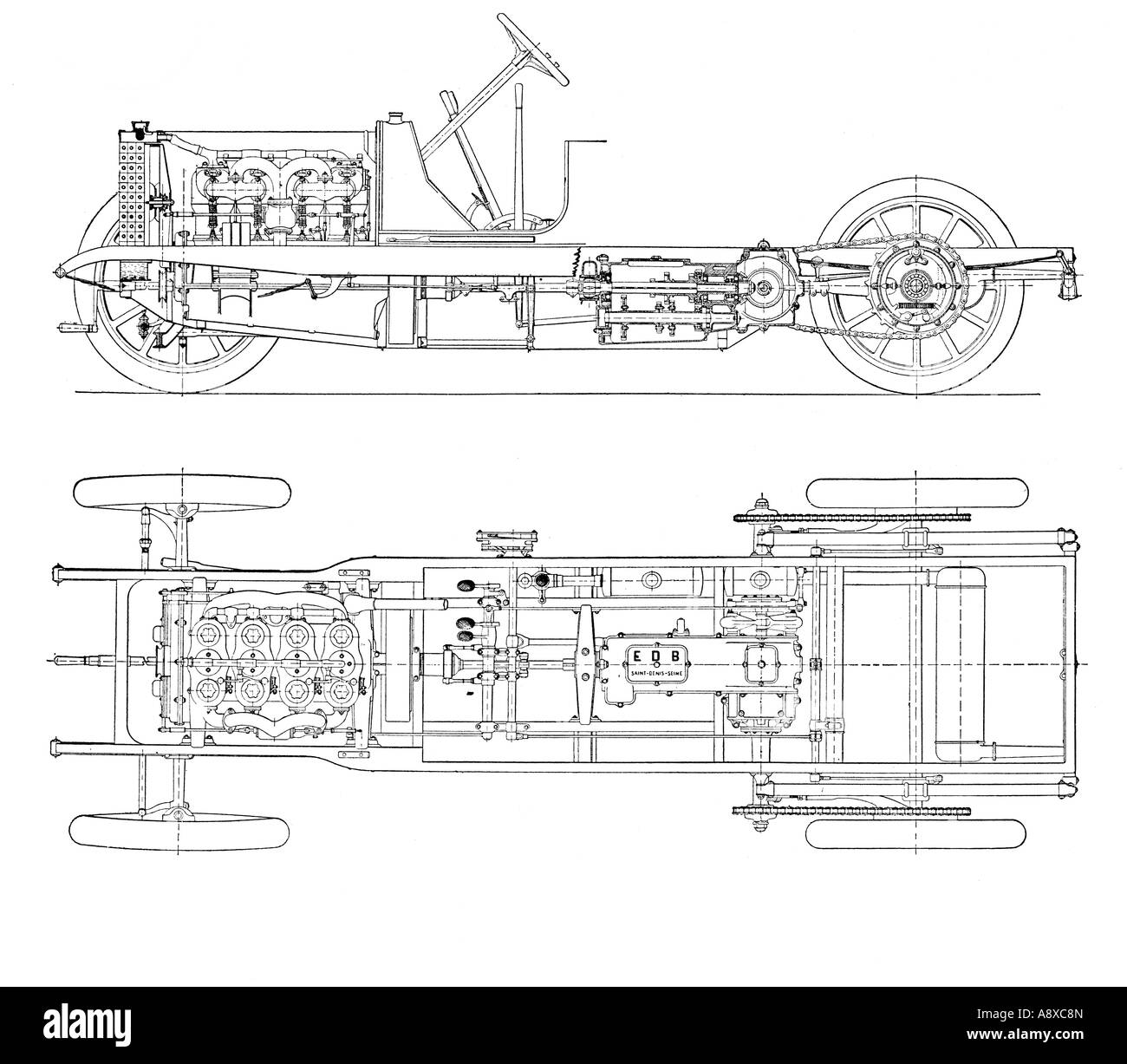 DIAGRAM OF FOUR CYLINDER PETROL ENGINE CAR CHASSIS WITH CHAIN DRIVE - Stock  Image