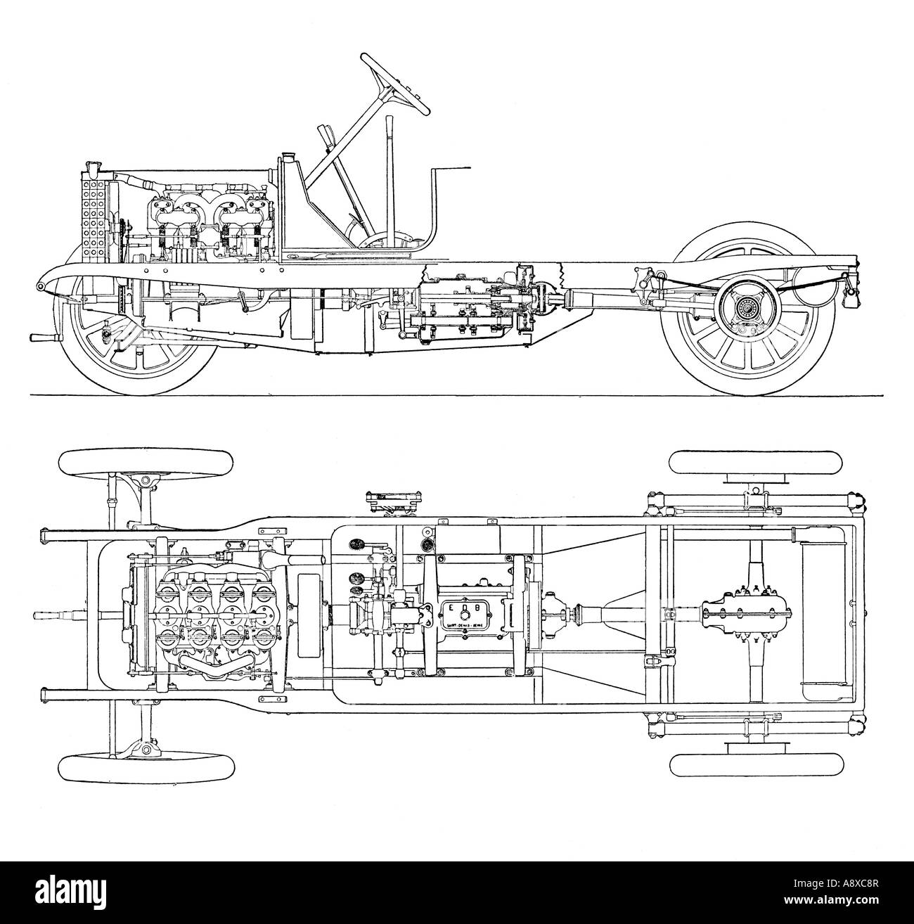 diagram of four cylinder petrol engine car chassis with cardan shaft rh  alamy com Car Engine
