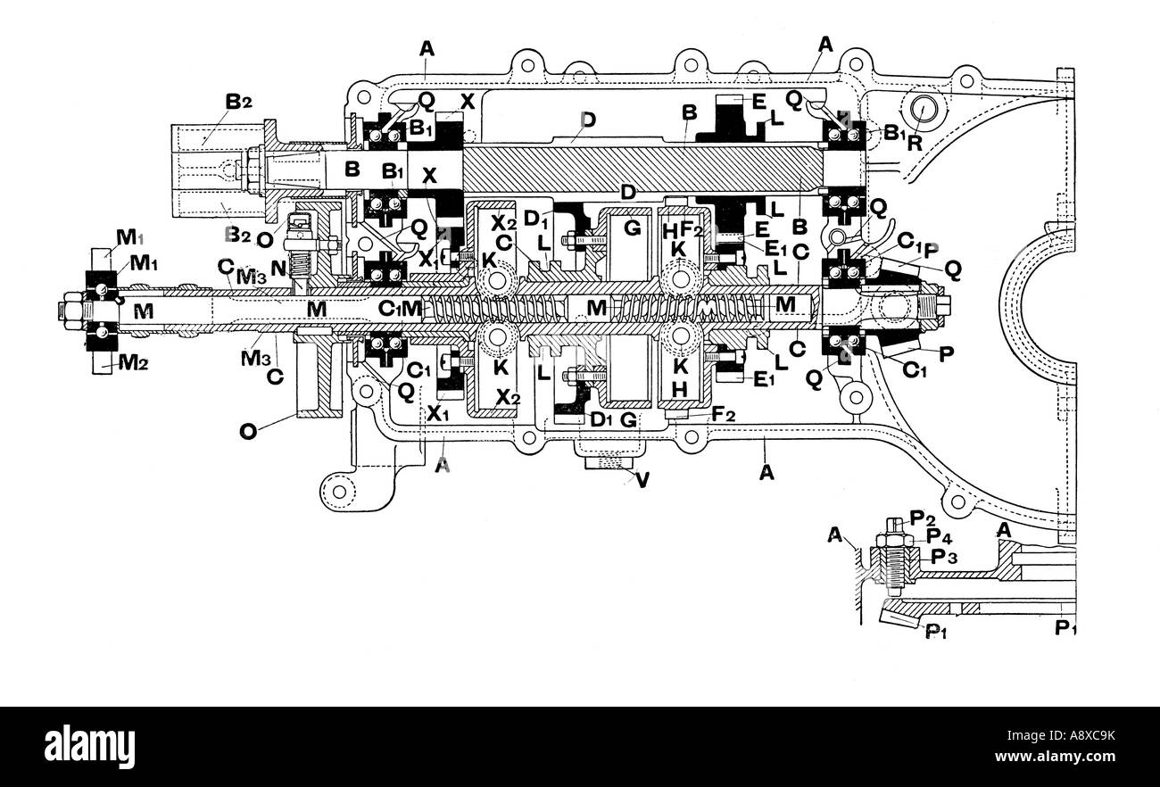 SIDE SECTION DIAGRAM OF DE DION BOUTON CAR GEARBOX - Stock Image