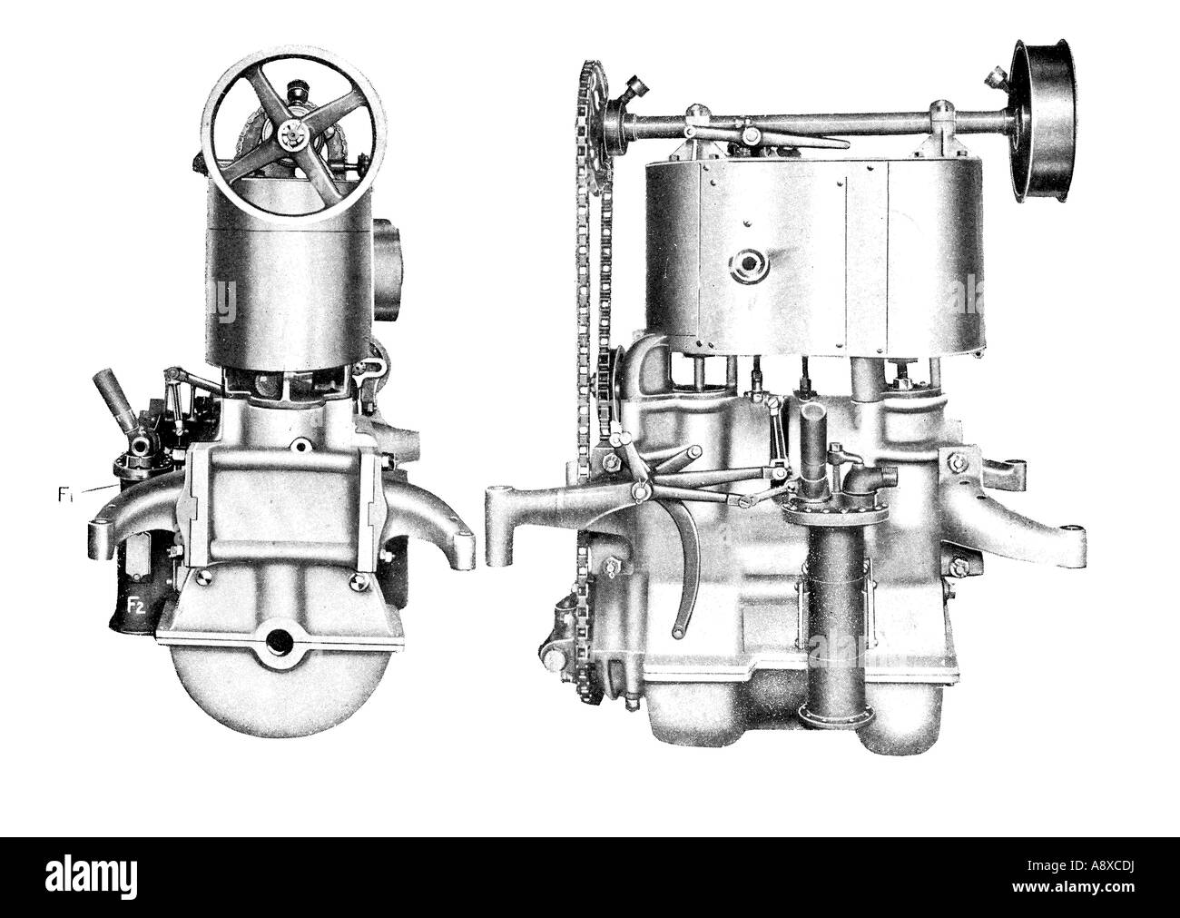 Car Engine Diagram Stock Photos Images Cylinder White 30 Horse Power Steam Image