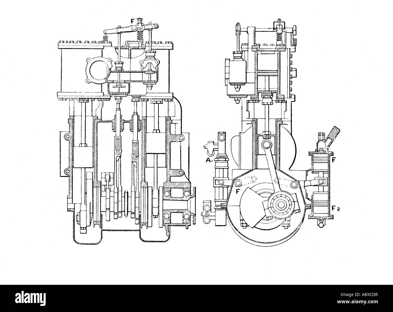 side and end sectional elevation diagrams of white 30 horse power rh alamy com Model Steam Engine Diagram Industrial Revolution Steam Engine