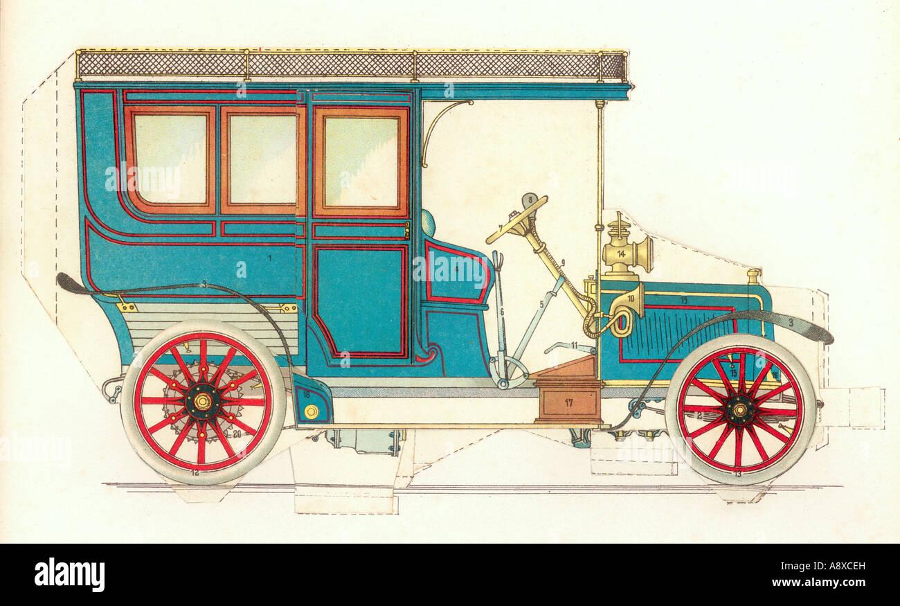 COLOR ILLUSTRATION OF VINTAGE PETROL ENGINE CAR - Stock Image