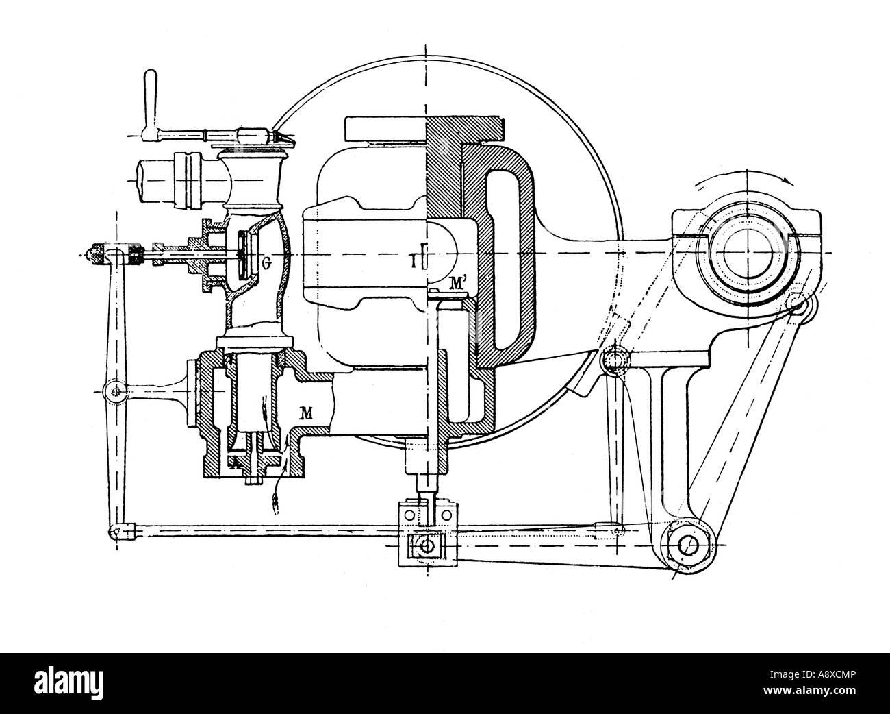 OTTO GAS BURNING ENGINE VALVES - Stock Image