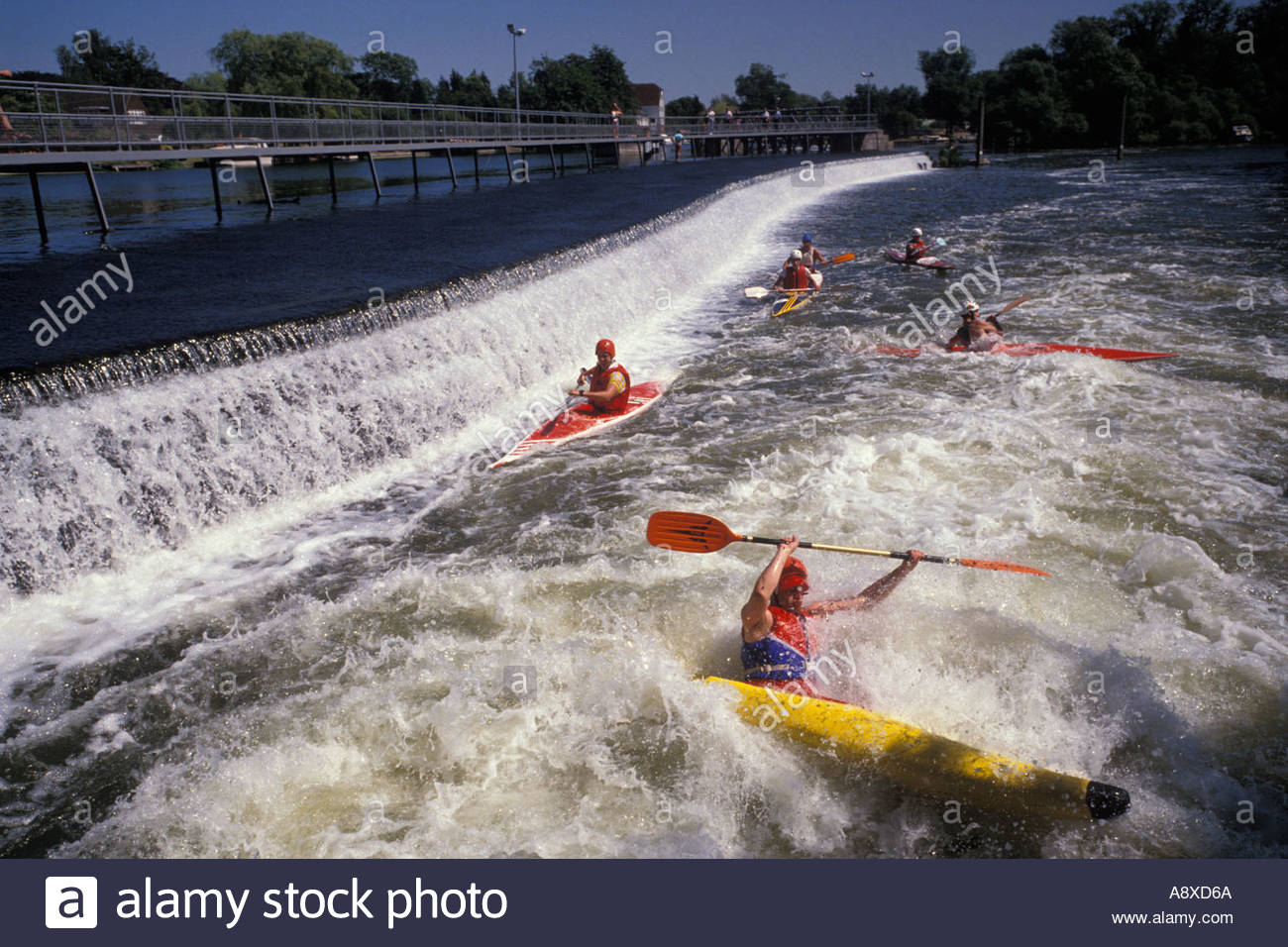 Kayaking at Hambleden Lock, UK - Stock Image