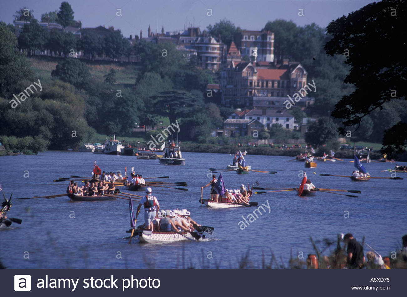 Start of Great River Race , from Ham to Greenwich, UK - Stock Image