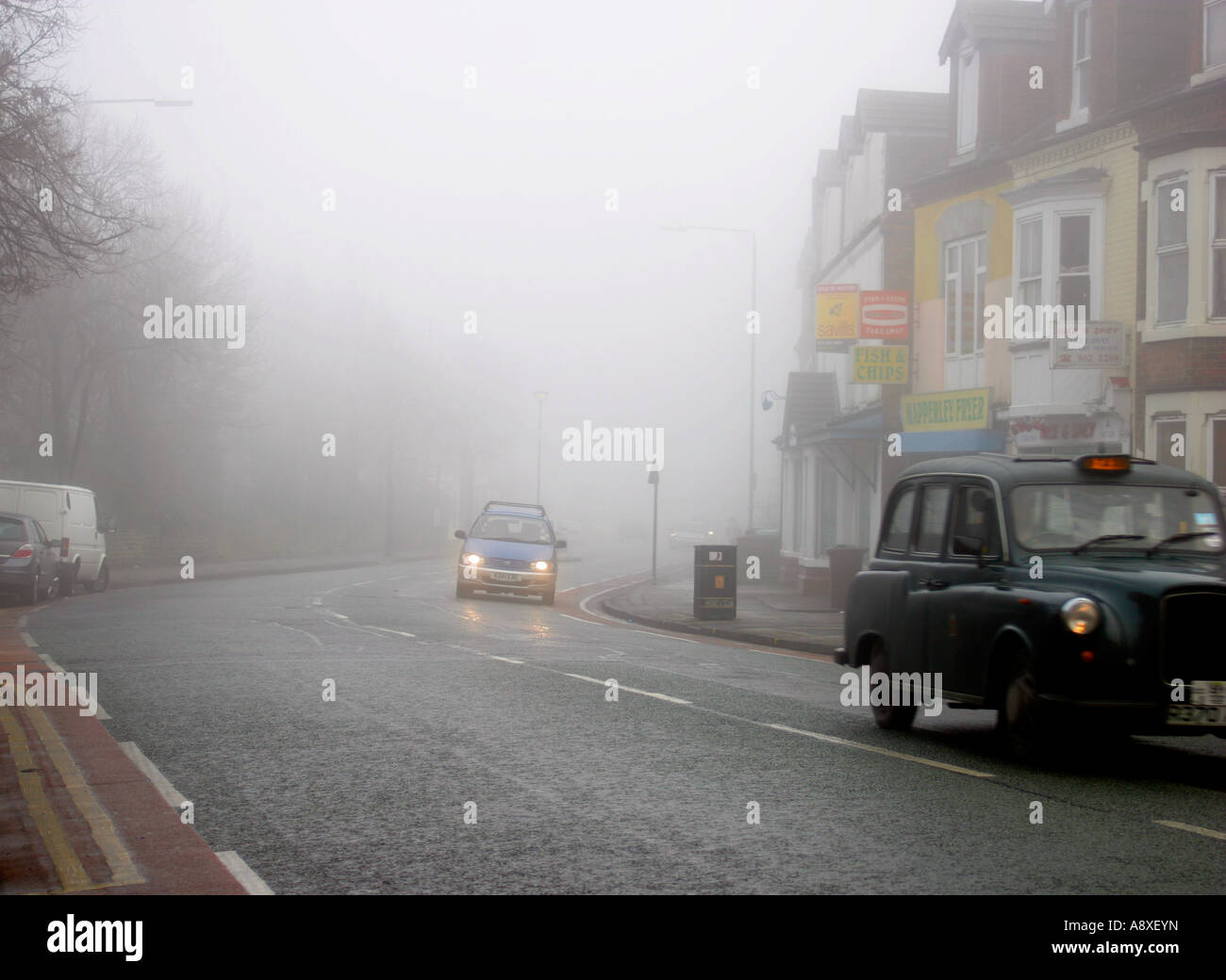 Fog on Nottingham's roads – the Woodborough Road, Mapperley - Stock Image
