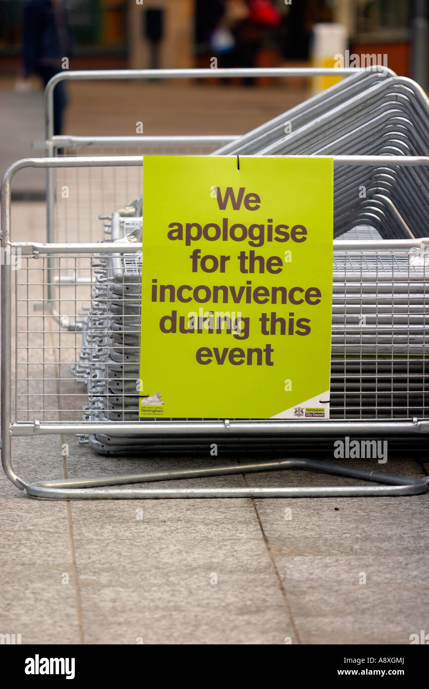 'We apologise for the inconvience during this event'  New Market Square Nottingham.  Inconvenience spelt - Stock Image