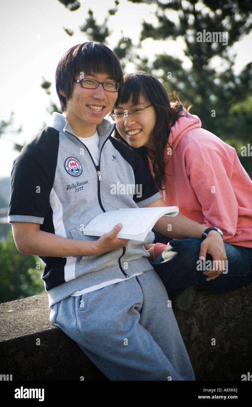 Two 2 Happy Smiling Young Happy Chinese Students A Couple Male