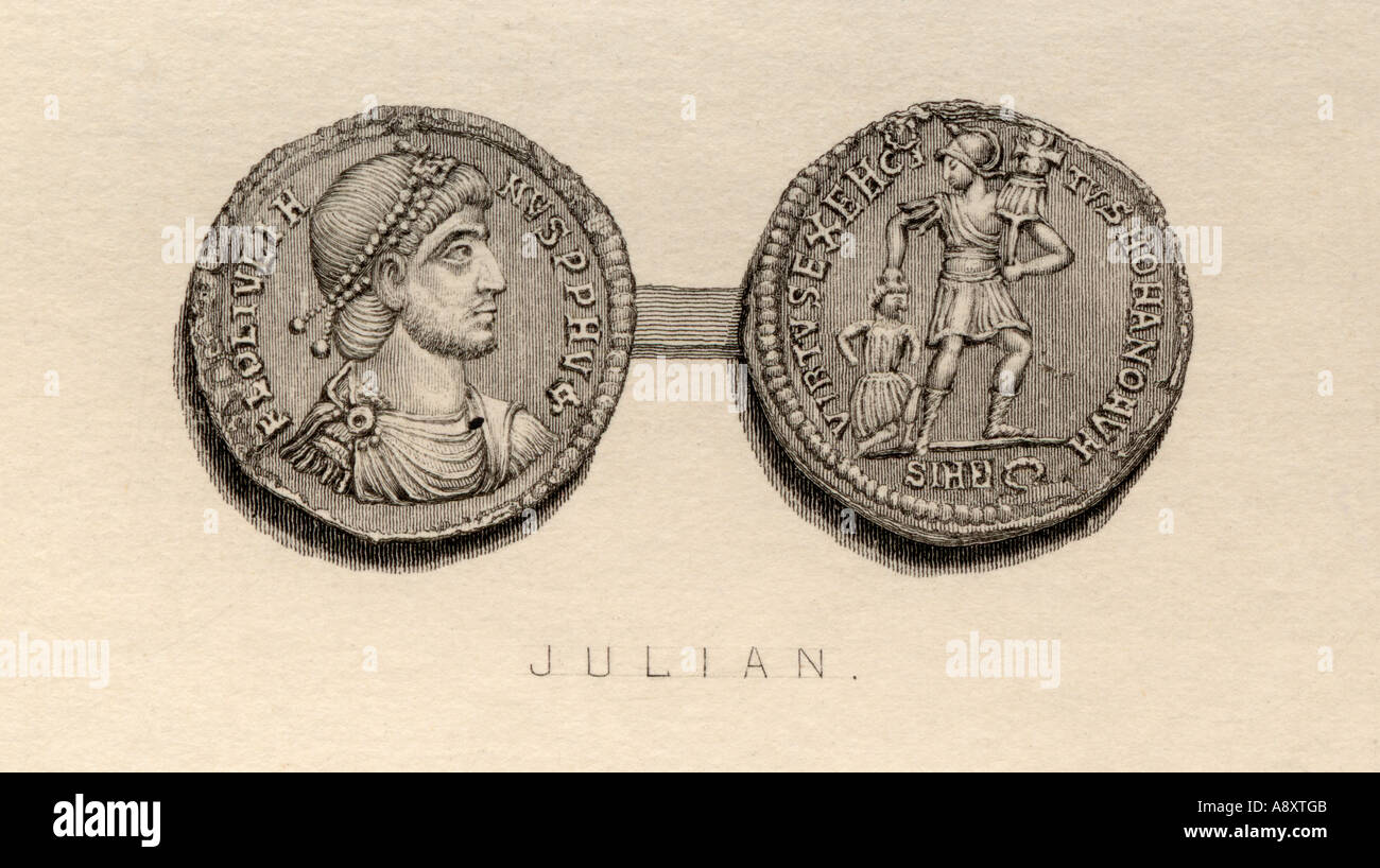 Coin from the time of Julian the Apostate Flavius Claudius Julianus A D 331 363 Roman Emperor - Stock Image