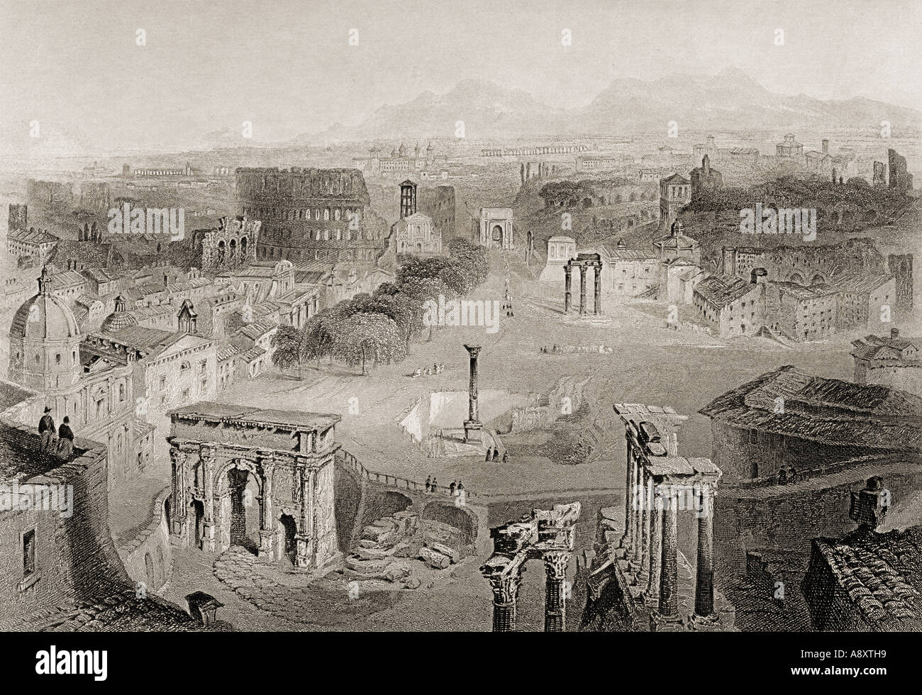 Ancient Rome from the Capitoline Hill Italy Looking over the Forum - Stock Image