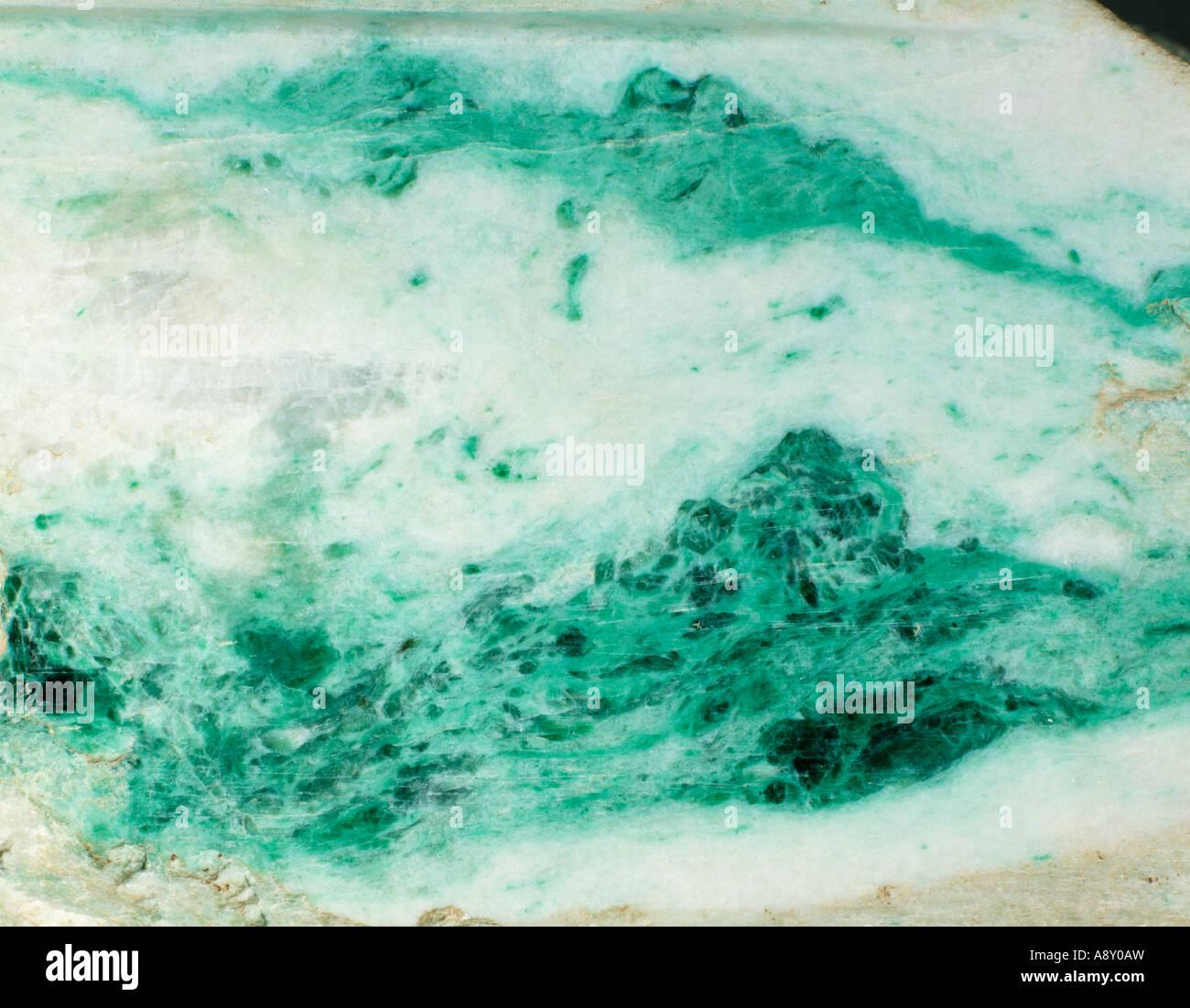Polished slab of jade - Stock Image