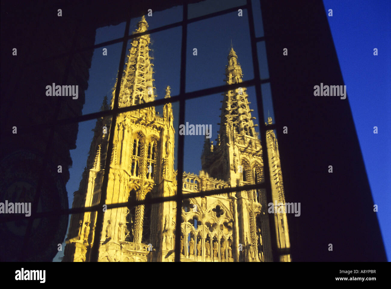 Burgos Cathedral seen from Meson del Cid BURGOS Castile and Leon Spain - Stock Image