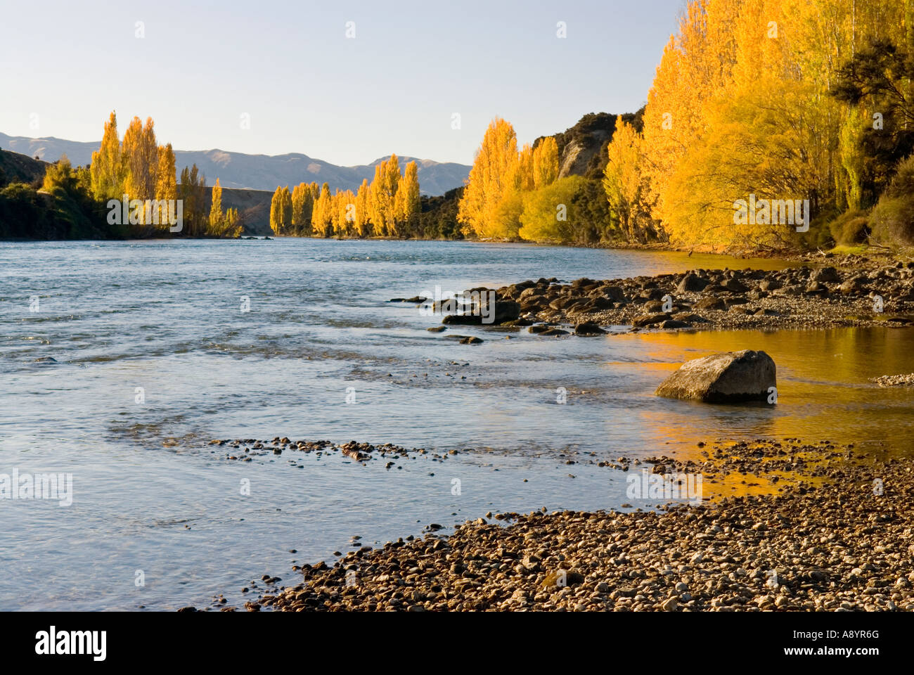 Lake Wanaka Outlet in Autumn start of the mighty Clutha River Otago New Zealand Stock Photo