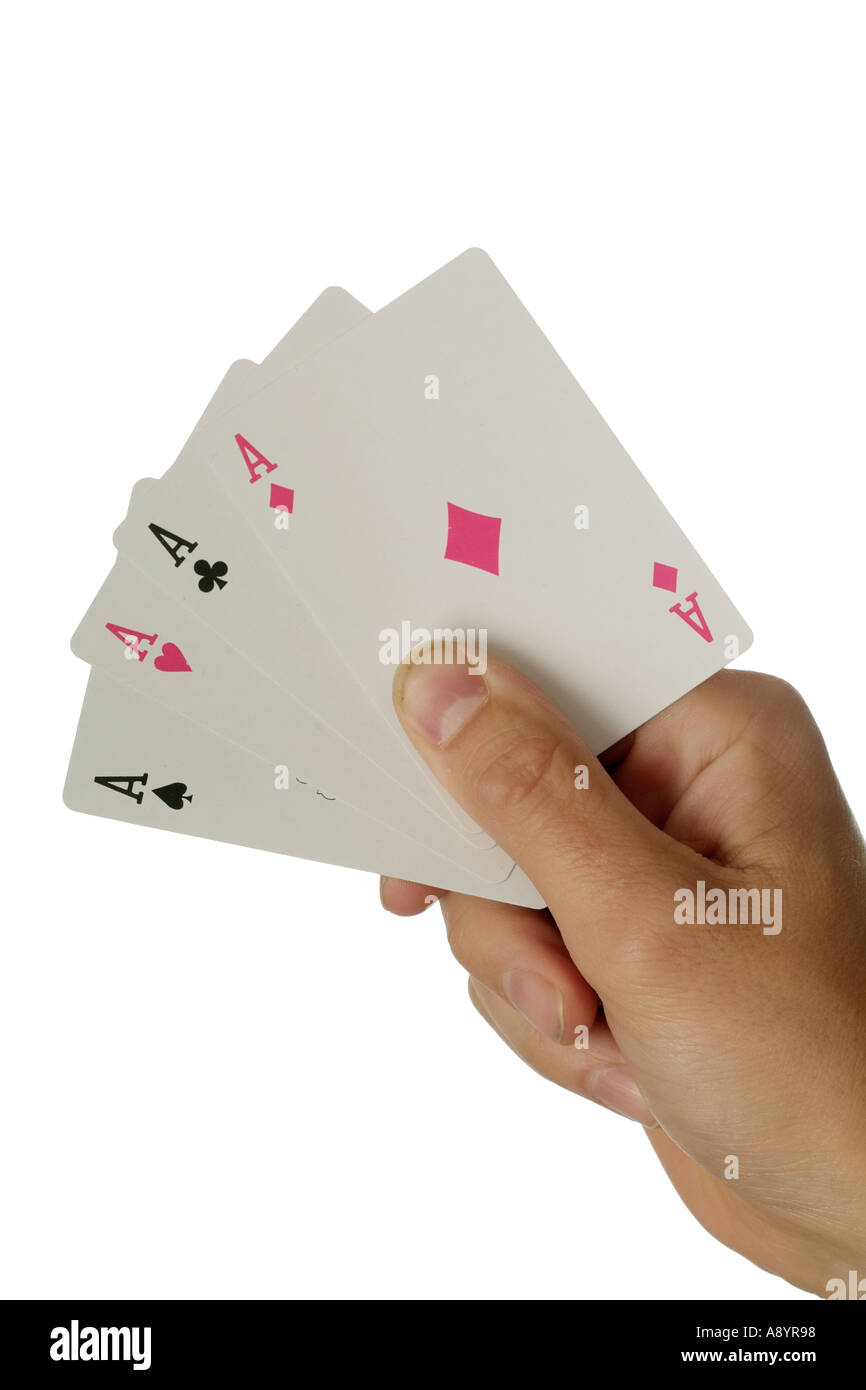 gamble gambling play playing card cards risk bet poker ace jack queen king flush las vegas casino betting hand deal dealt dealer - Stock Image
