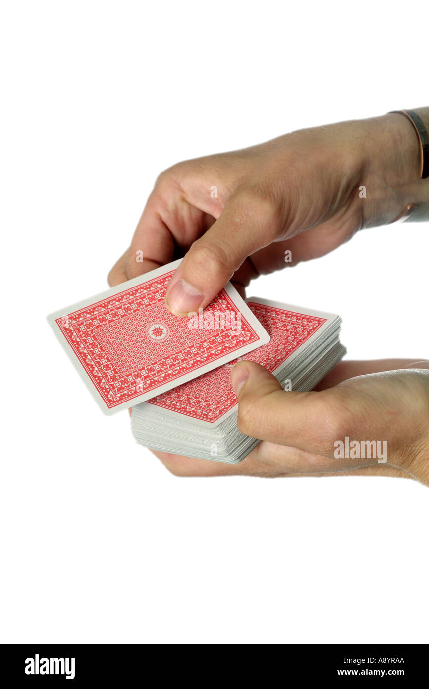 gamble gambling play playing card cards risk bet poker ace jack queen king flush las vegas casino betting hand deal dealt dealer - Stock Image