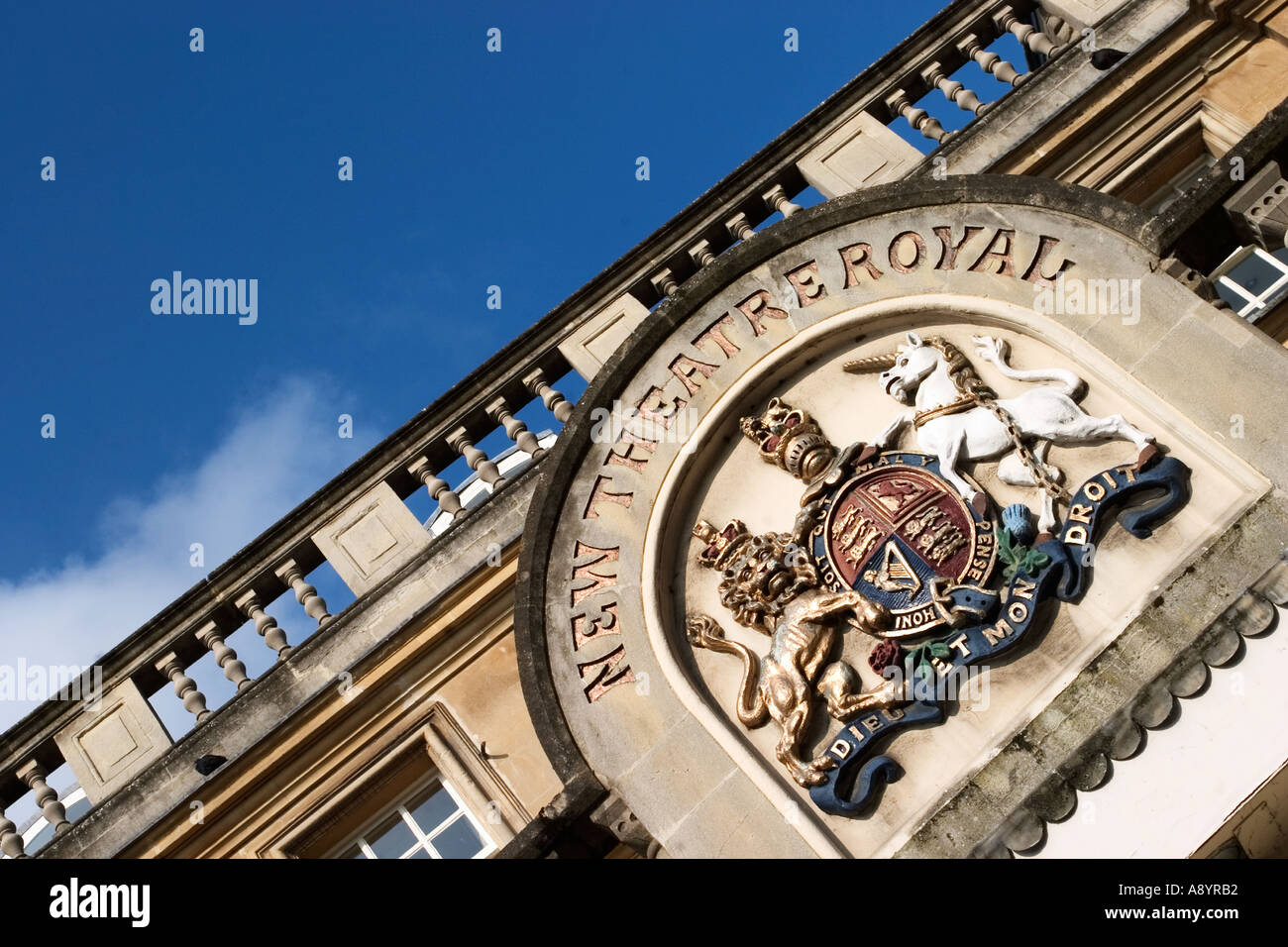 Coat of Arms above the entrance to the New Theatre Royal in Bath Somerset England Stock Photo