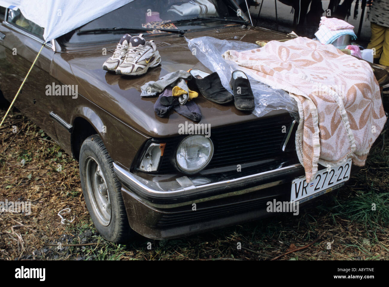 gipsy car used as house during the Guca Music Festival in Guca serbia - Stock Image