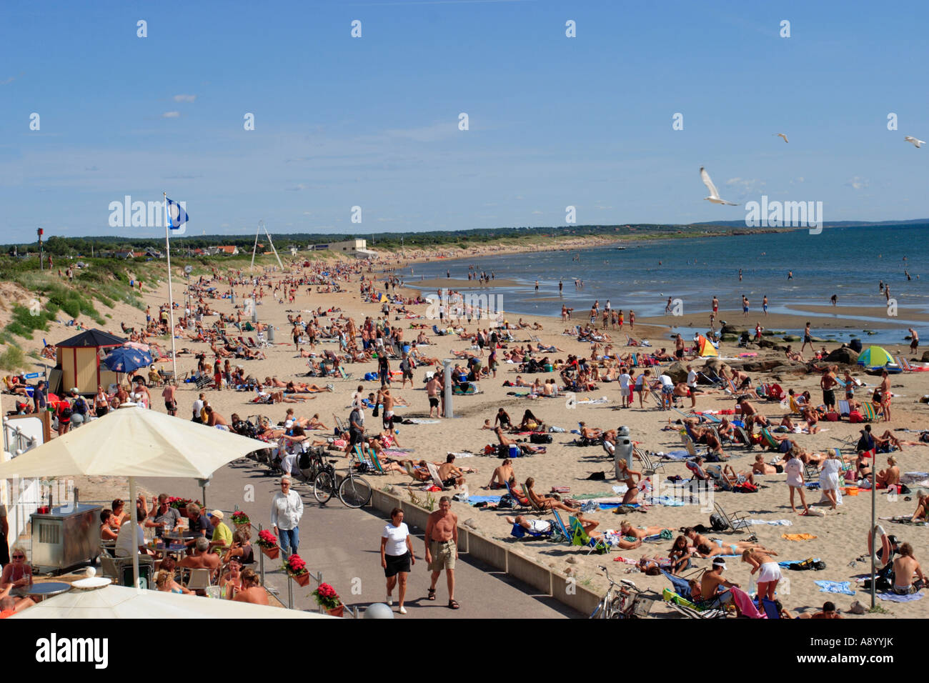 Café on the crowd beach - Stock Image