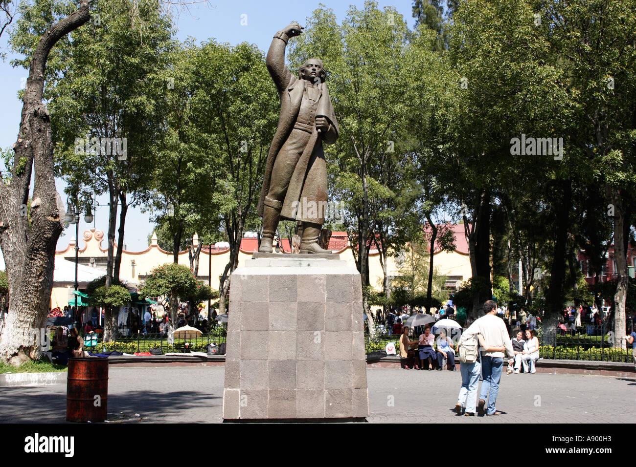 Statue Of Miguel Hidalgo In Plaza Hidalgo Coyoacan Mexico City