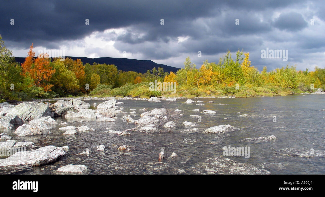 Dramatic cloudy sky over Jotunheimen during Indian summer, Jotunheimen, Norway - Stock Image