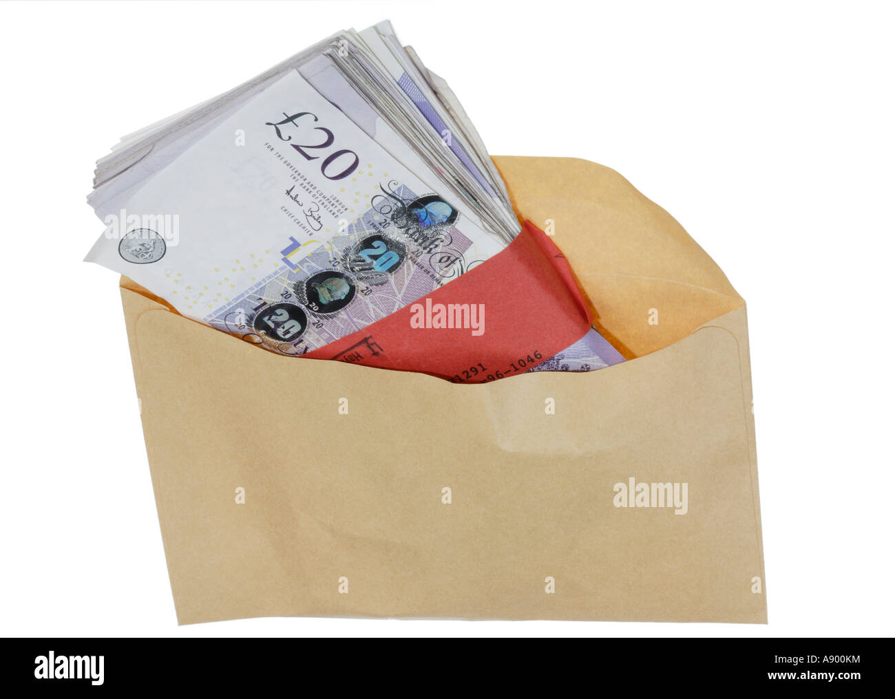 Cash and a brown envelope Used notes - Stock Image