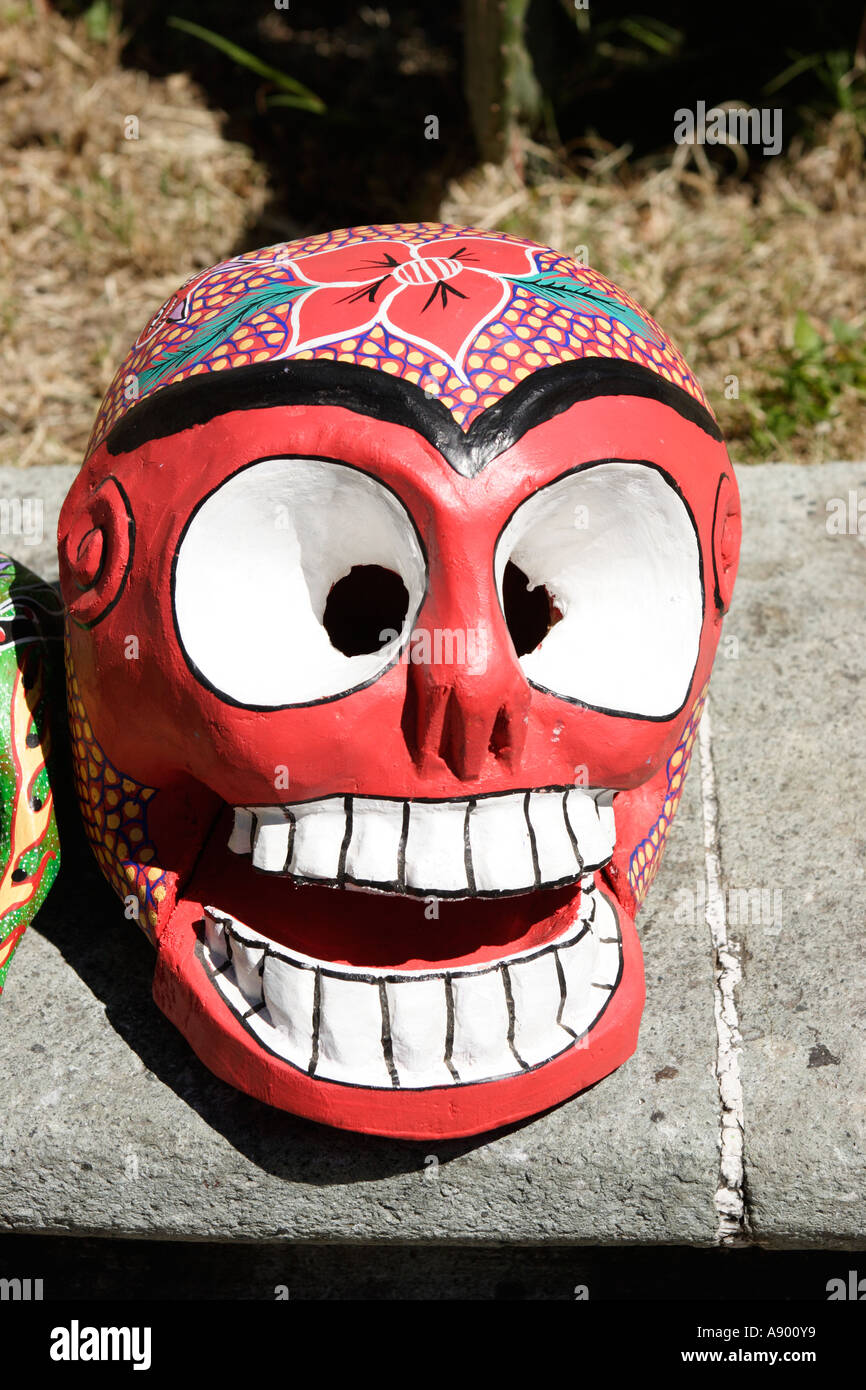 Traditional Painted Wooden Skull For Sale Day Of The Dead Festical