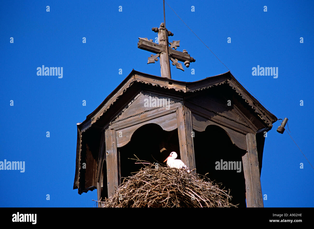 Stork on nest, Holy Trinity Church, Sveta Troitsa Church, clock and bell tower, Bansko, Bulgaria Stock Photo