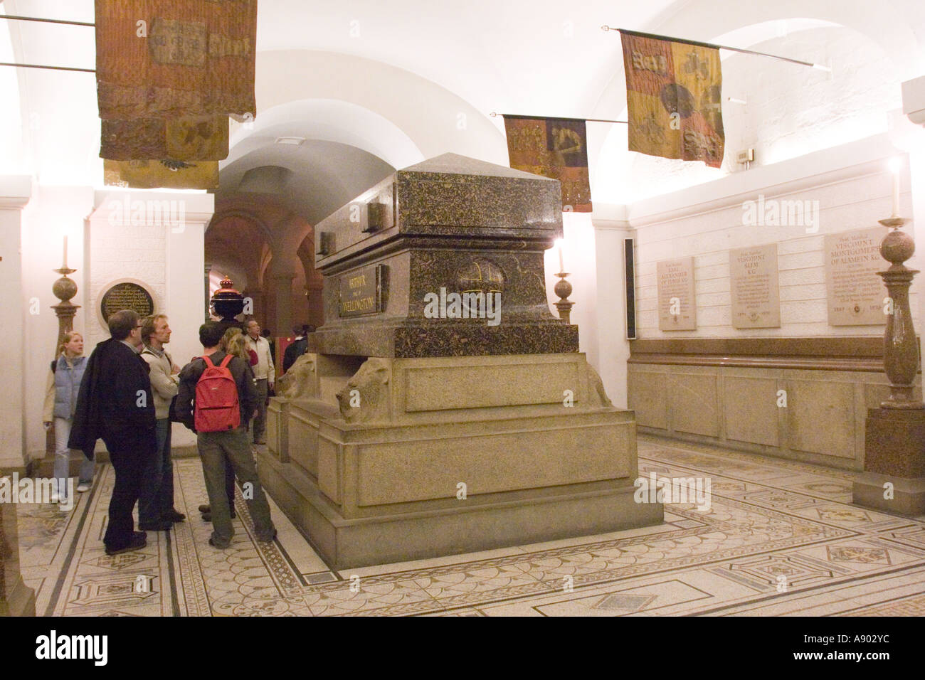 he tomb of Arthur, Duke of Wellington in the Crypt of St Paul's Cathedral London GB UK - Stock Image