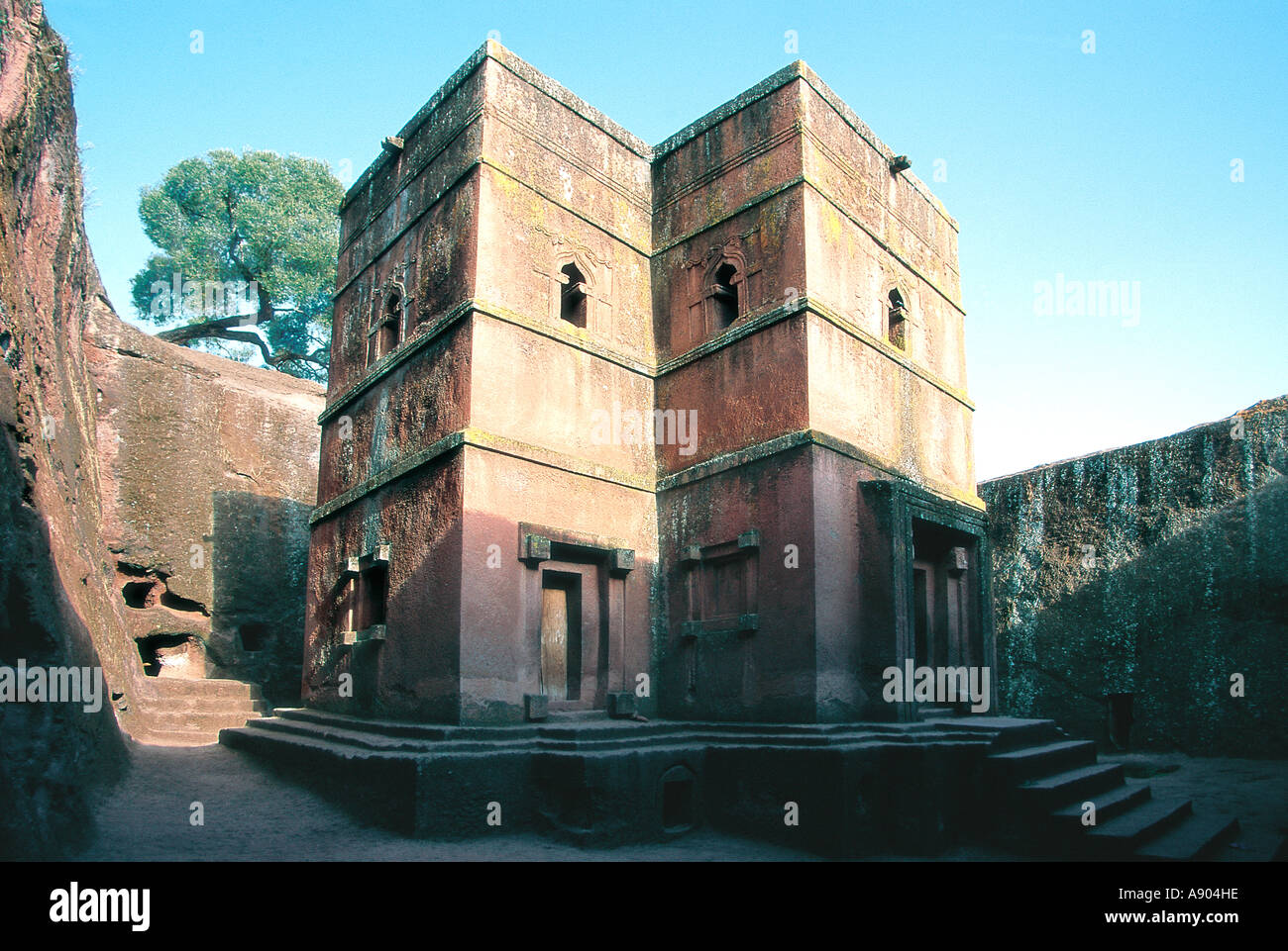 St George s rock hewn church Lalibela Ethiopia East Africa - Stock Image