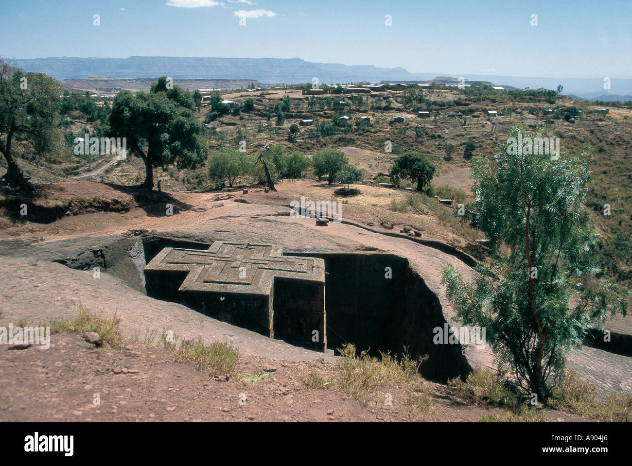 View from above of St George s rock hewn church Lalibela Ethiopia East Africa - Stock Image