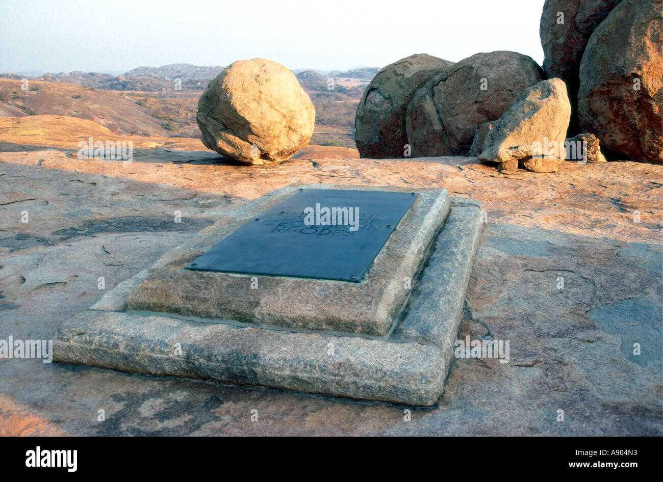 The grave of Cecil John Rhodes at World s view in Matobo National Park Zimbabwe Africa - Stock Image
