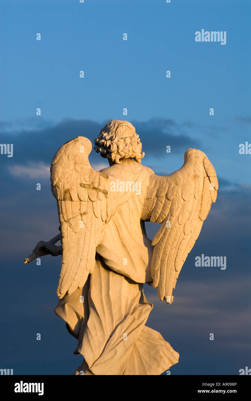 Rome Italy Bernini's baroque angel sculptures on Ponte Sant' Angelo - Stock Image