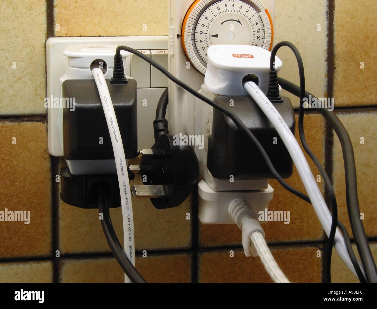 overloaded power sockets stock photo  593654