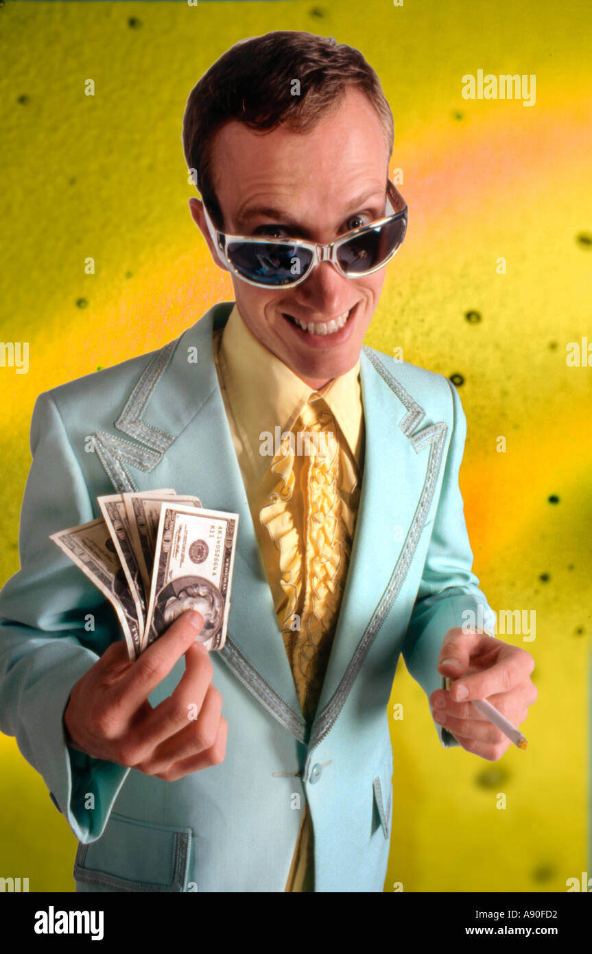 Tacky car salesman with money and cigarette - Stock Image