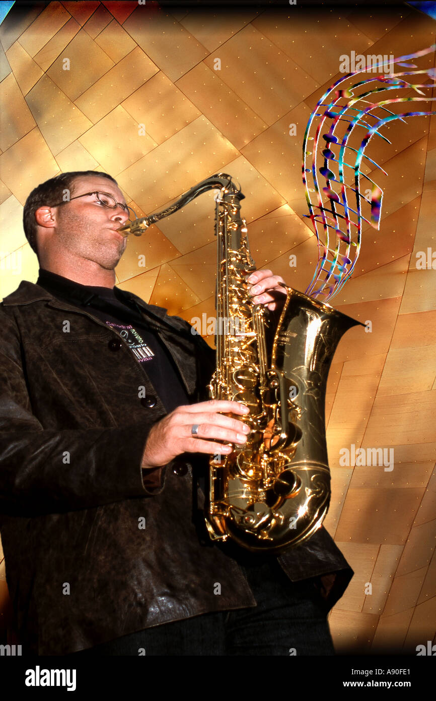 Saxaphone player musician with musical notes and staff - Stock Image