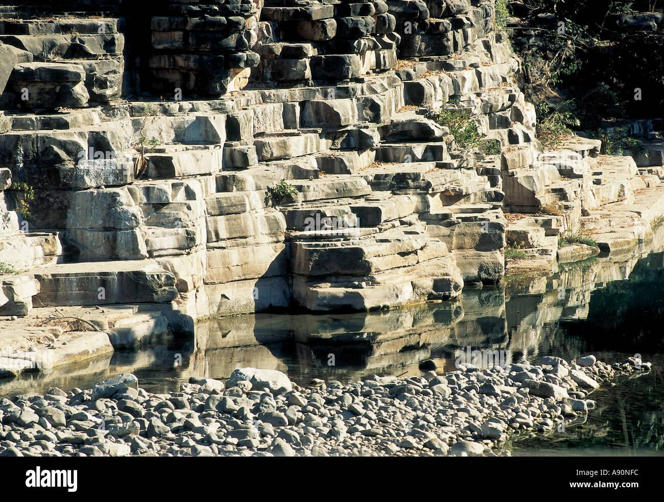 NMJ99671 Limestone Mines Maharashtra India Stock Photo