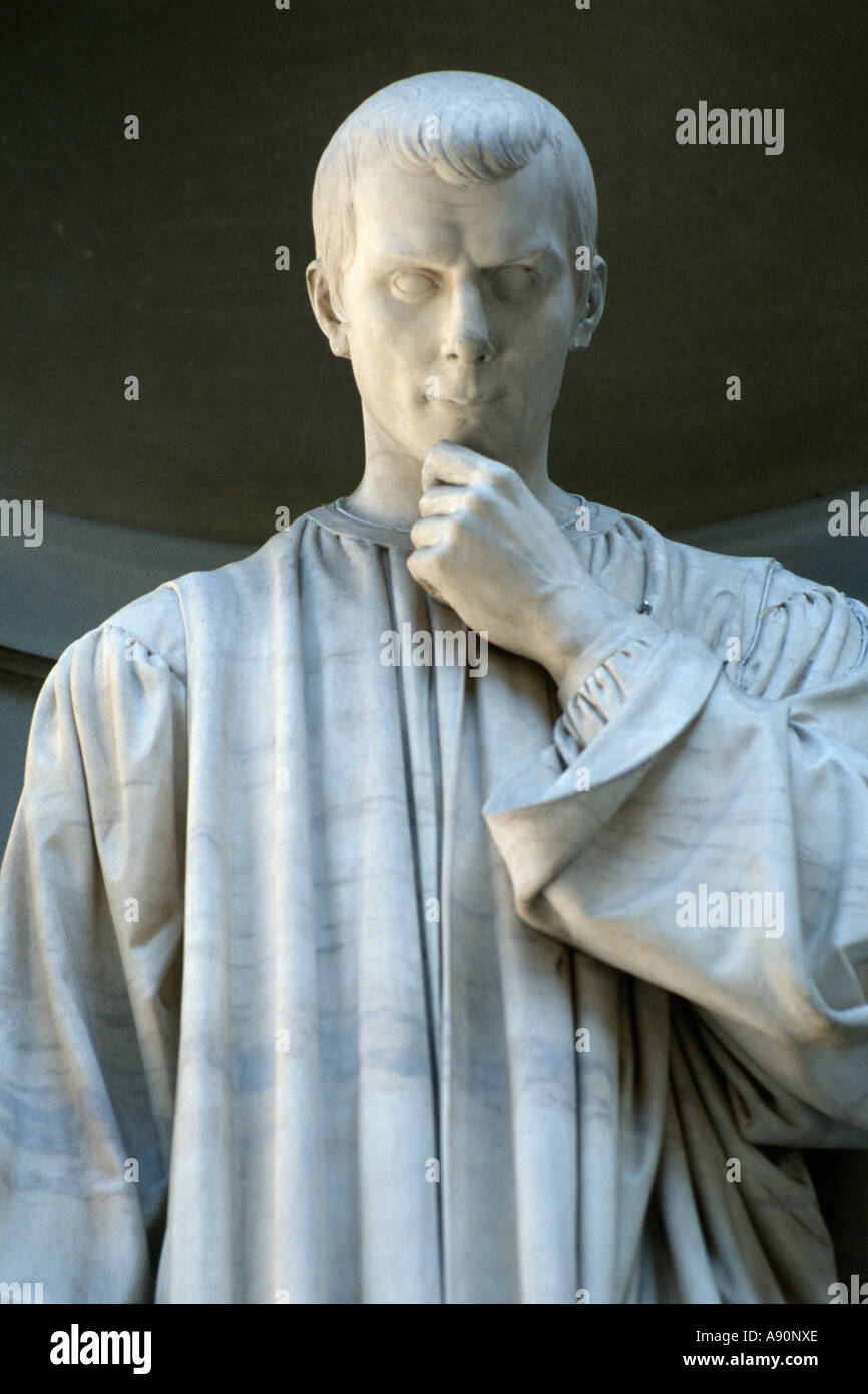 Florence Italy Statue of Niccolo Macchiavelli in the Uffizi loggia Stock Photo