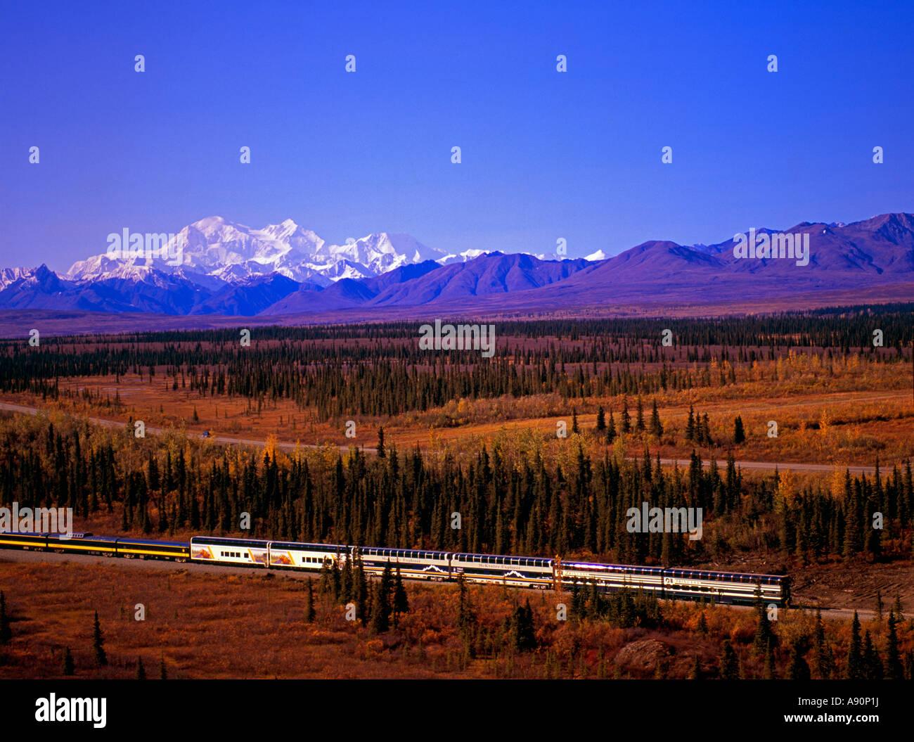 The Alaska Railroad and the Alaska Range and Mt. McKinley. - Stock Image