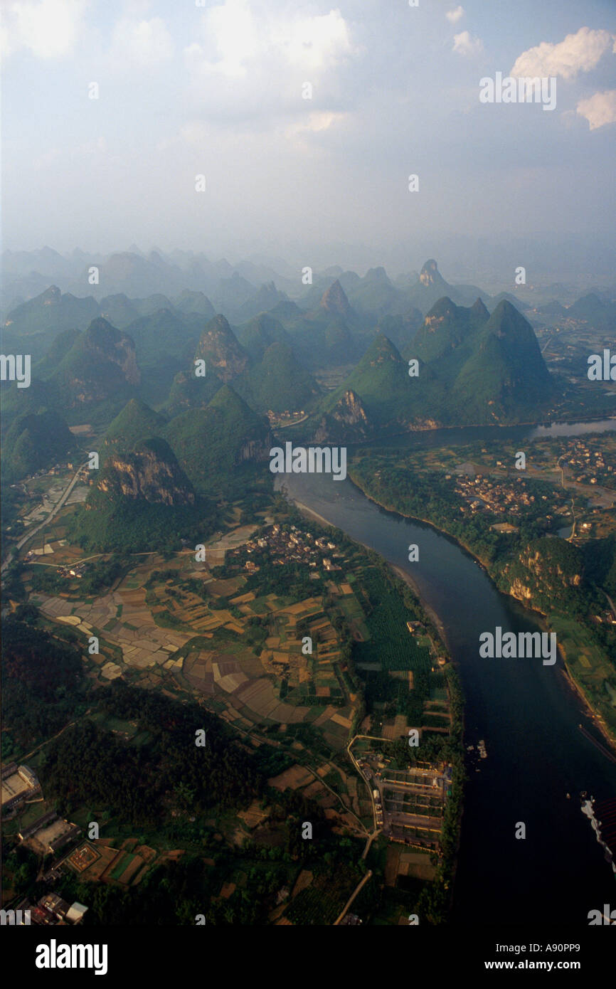 Sunset Over Yangshuo, China, From Hot Air Baloon Stock Photo