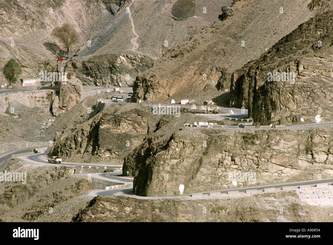 Pakistan NWFP Khyber Pass Afghan border country and Post No 1 from Landi Kotal - Stock Image