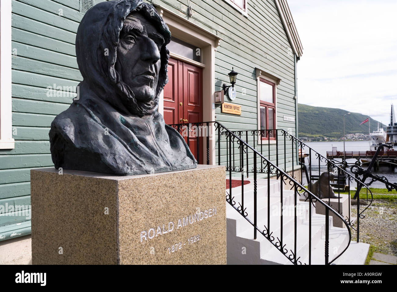 Statue of Roald Amundsen by the harbour at Tromso Norway Stock Photo