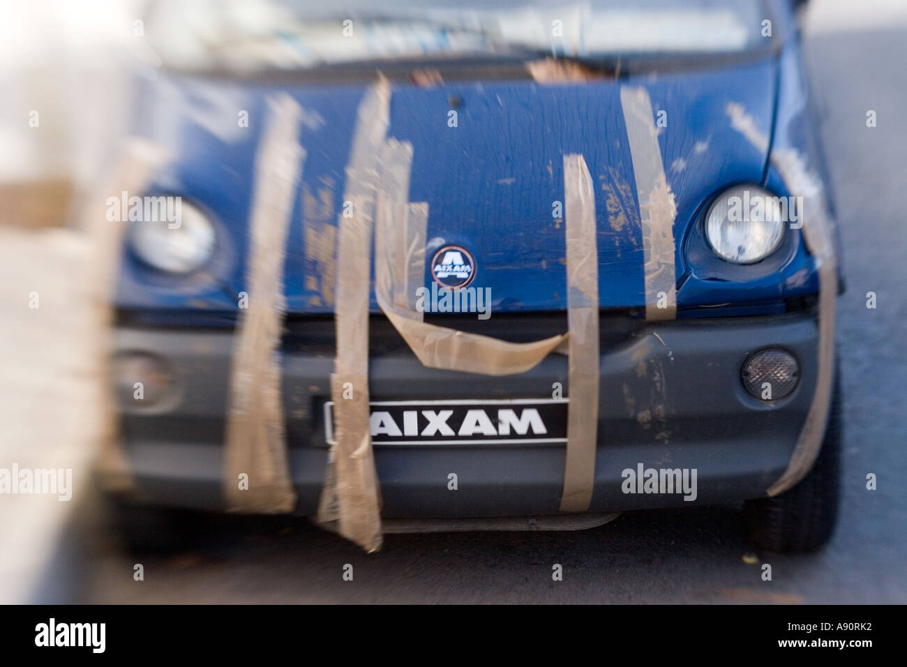 Palma de Mallaorca old car fixed with tape Stock Photo