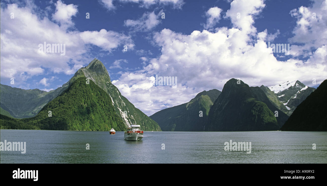 New Zealand Milford Sounds Mitre peak Fjord Tour boat  Panorama - Stock Image