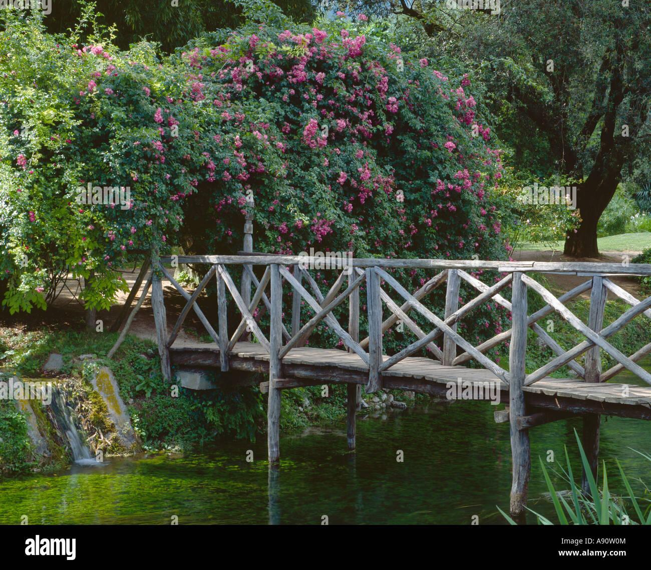 Giardino Di Ninfa Latina Italy Rustic Wooden Bridge