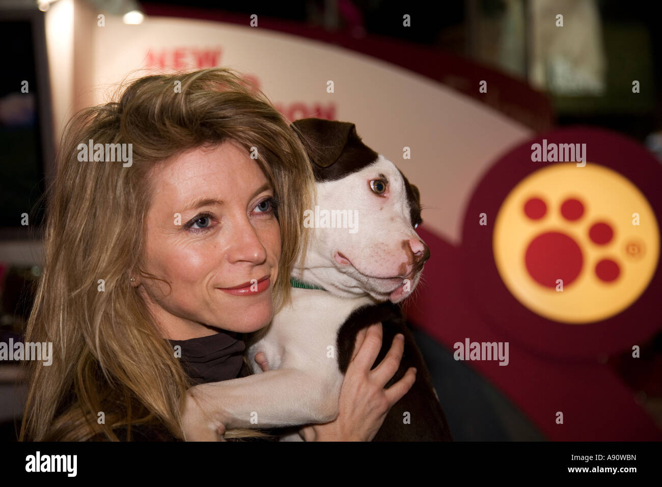 Trude Mostue and Henry the staffordshire bull terrier. - Stock Image