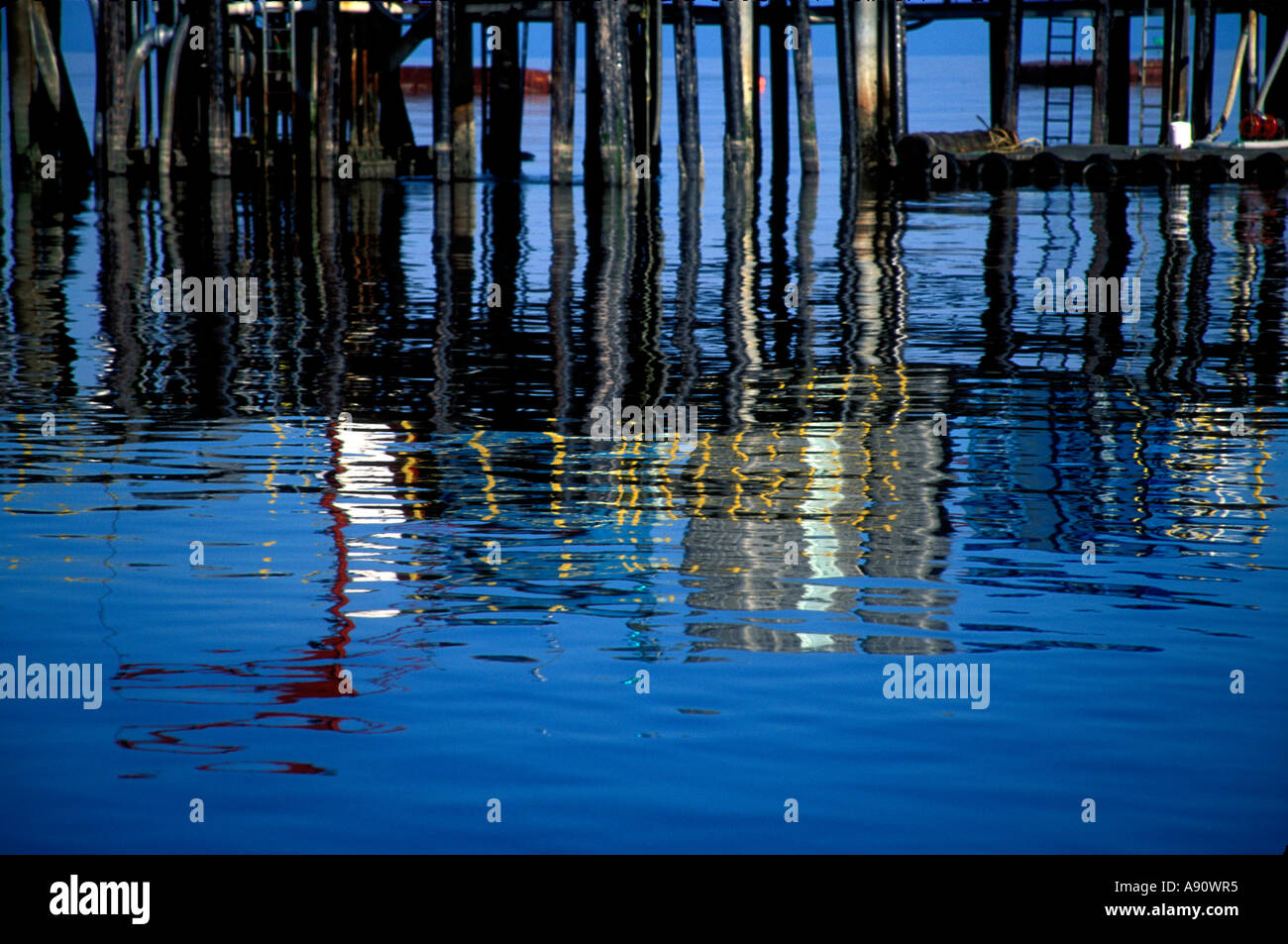 PA7-90  DOCK REFLECTION IN KAKE HARBOR - Stock Image