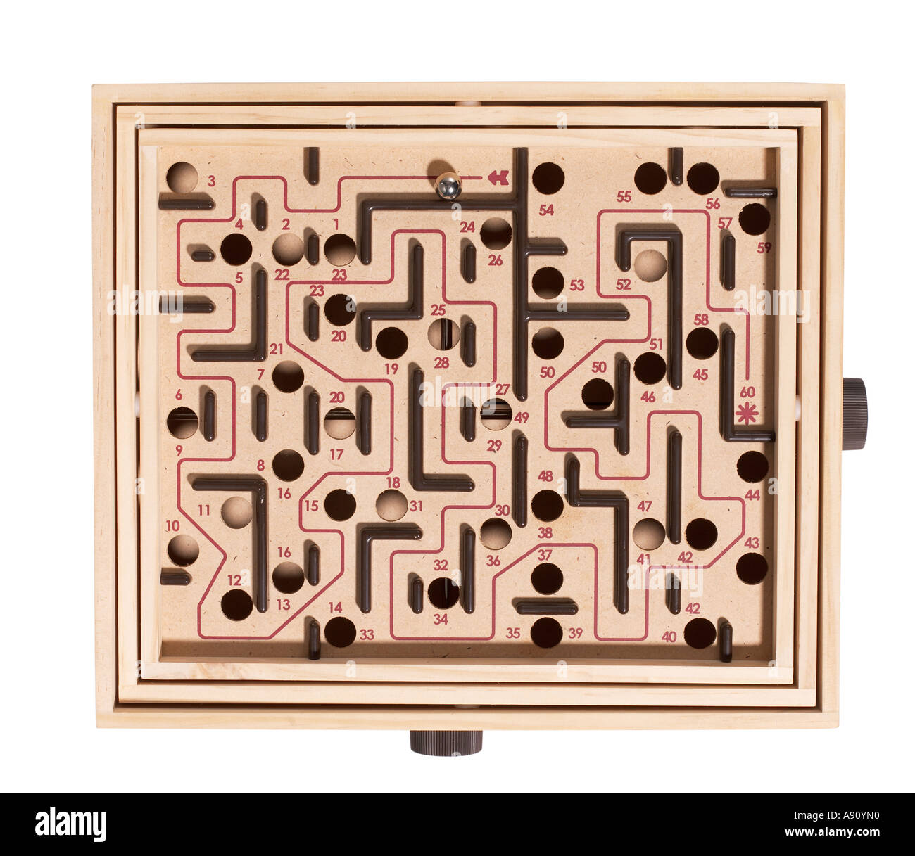 Labyrinth Game elevated view - Stock Image