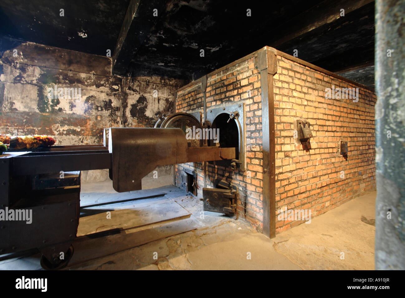 The cremation oven in Auschwitz nazi  concentration camp,  Poland - Stock Image