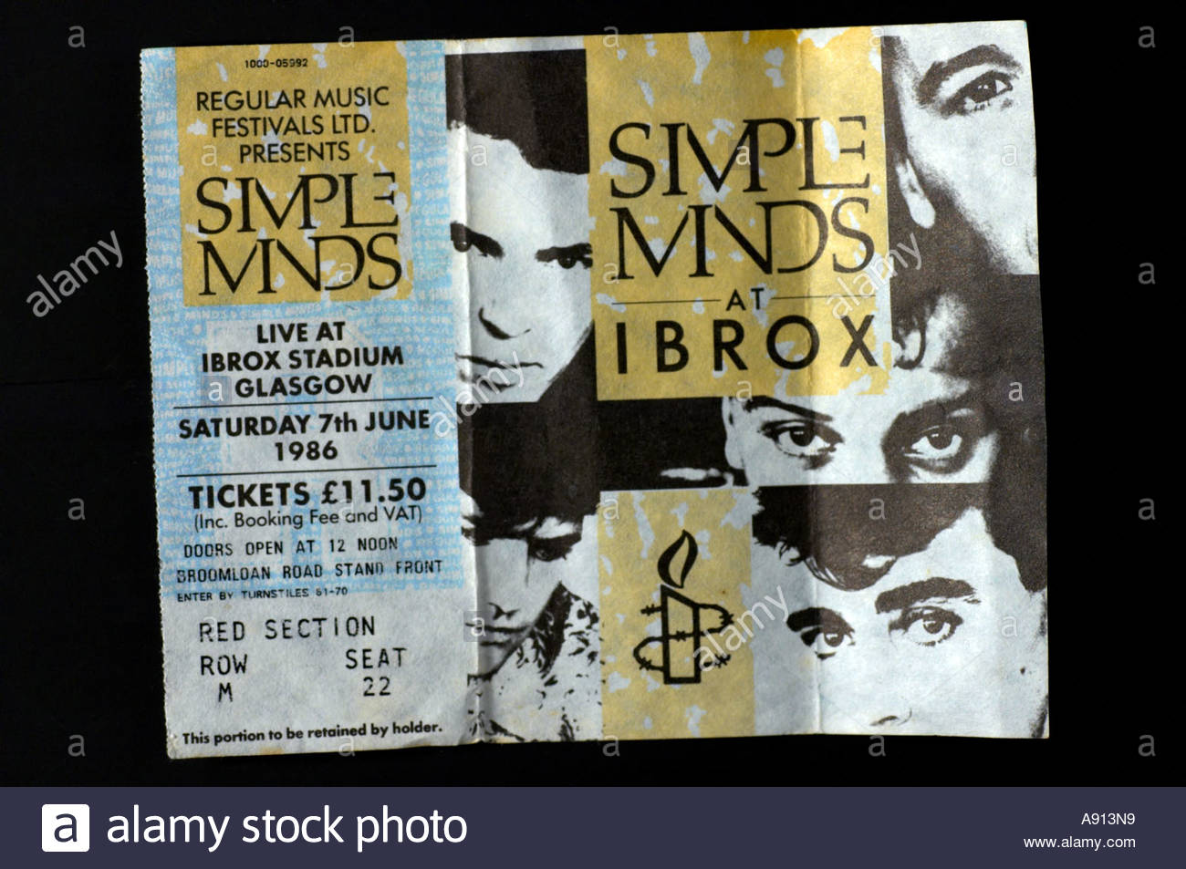 A concert ticket for the pop group Simple Minds at Ibrox Stadium Glasgow 1986 - Stock Image